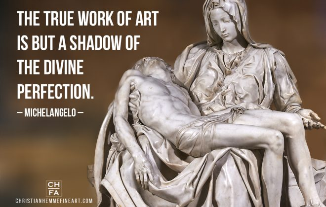 Painting by Michelangelo with a quote by the artist.