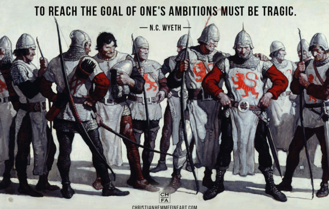 Painting by N.C. Wyeth with a quote by the artist.